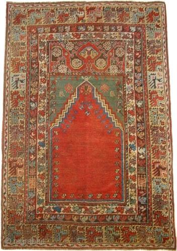 "Mudjur prayer, Anatolian, circa 1850, antique. Collector's item. Size: 133 x 98 (cm) 4' 4"" x 3' 3""  carpet ID: K=1314a Prayer carpet (Mehrab). Vegetable dyes, the brown color is oxidized,  ..."