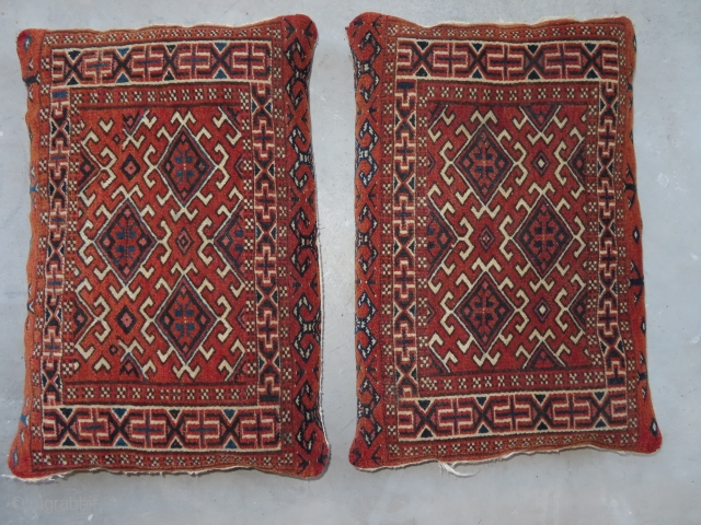 A pair of Yemouth cushions, knotted circa in 1922, antique, collectors item, in perfect condition, rust background. The knots, the warp and the weft threads are hand spun wool.