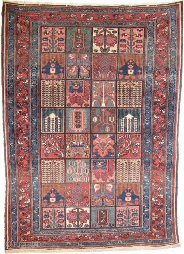 "Baktiar Persian circa 1900 antique. Collector's item. Size: 199 x 144 (cm) 6' 6"" x 4' 9""  carpet ID: K-4166