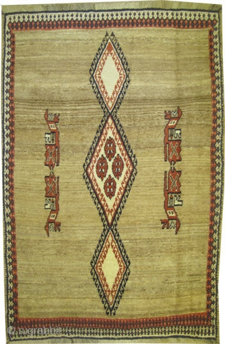 "Gabbeh Nomad Persian, old. Collector's item. Size: 200 x 131 (cm) 6' 7"" x 4' 4""  carpet ID: T-688