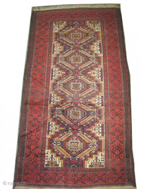 """Belutch Persian circa 1910 antique. Size: 183 x 100 (cm) 6'  x 3' 3""""   carpet ID: E-368 Vegetable dyes, the black color is oxidized, the knots are hand spun wool,  ..."""