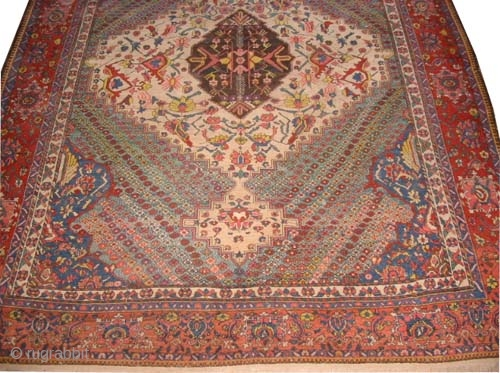 "Baktiar Persian circa 1915 antique. Size: 395 x 310 (cm) 12' 11"" x 10' 2""  carpet ID: P-4764 Vegetable dyes, the black color is oxidized, the knots are hand spun lamb wool,  ..."