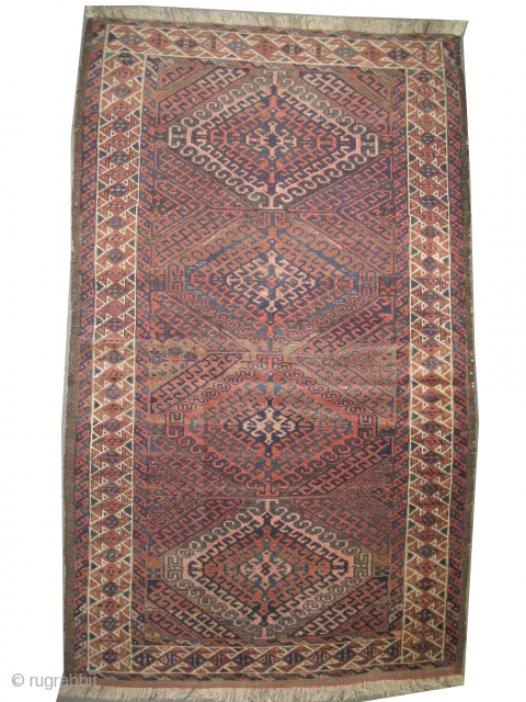 """Belutch Persian circa 1905 antique. Collector's item. Size: 163 x 95 (cm) 5' 4"""" x 3' 1""""  carept ID: M-382 Vegetable dyes, the black color is oxidized, the warp and the  ..."""