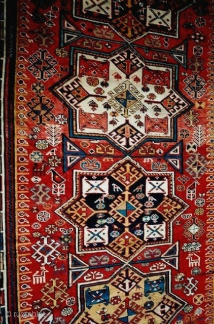 A sparkling Akstafa design from the Shirvan district, mid-19c, new to the market. The best clear colors I have seen in similar pieces and charming varied details. Good pile with a few  ...