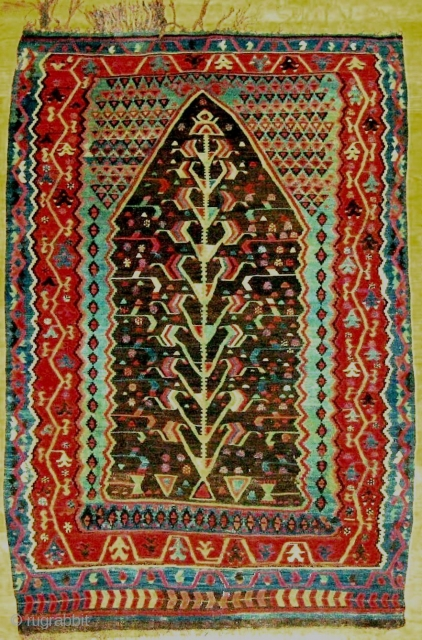 "Good small prayer kilim, western Anatolia. No repairs except a few tiny old stitches seen in the close-ups, mid-19c. The ""Tree of Life"" pattern is gracefully drawn in a harmonious palette and  ..."