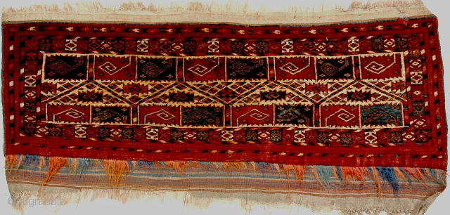Very rare Tekke trapping, or germech, first half 19th century. Exhibited at ICOC 1996 and published in Oriental Rugs from Atlantic Collections, p 204, fig 246. The pattern of stylized curled leaves  ...