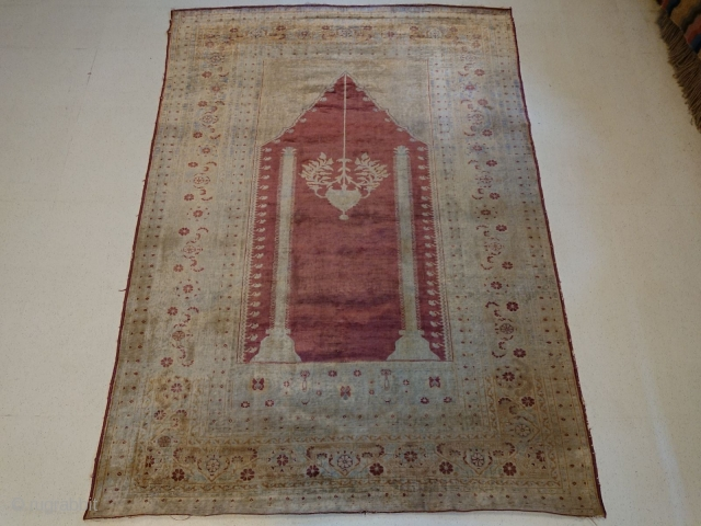 Antique prayer Sivas, SILK,  m. 1.64 x 1.16, general good condition with some low pile areas.