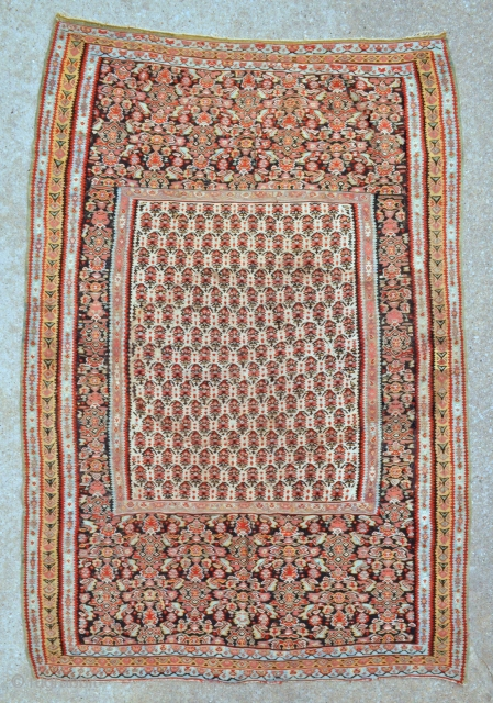 "Antique Senneh Kilim - 4'4 x 6'5 - 132 x 195 cm. - circa 1900 - has several small old reweaves, largest one on the yellow border about 2"" square otherwise the  ..."