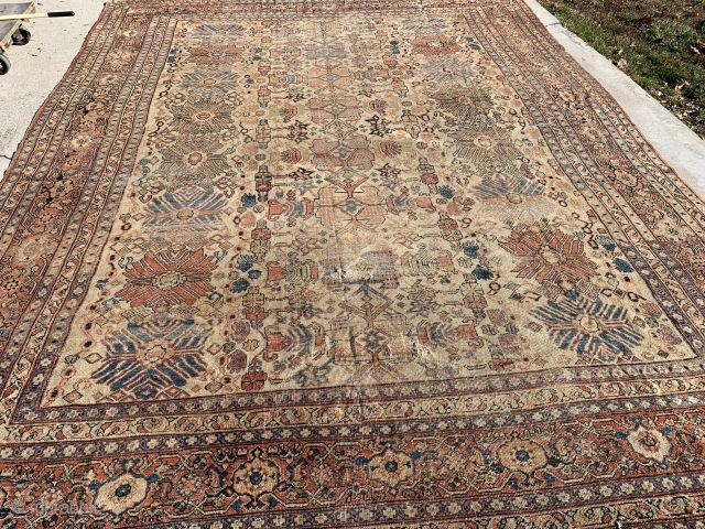 """Distressed late 1800's Mahal 10'6""""x 14' more pics available upon request."""