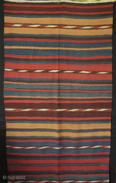 "Azerbaijan Shahsavan kilim with saturated colors. Minor good repairs. Size 47"" x 134"" -120 cm x 340 cm."
