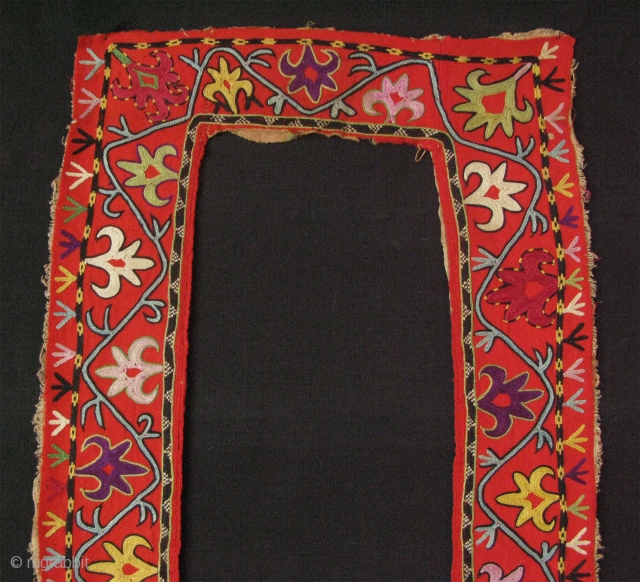 "Uzbekistan Lakay fragment. Chain stitch fine embroidery from Shahrisebz. Late 19th century. Size of each panel is 48"" - 121 cm long and 3.5"" - 9 cm wide, top panel is 3.5""  ..."