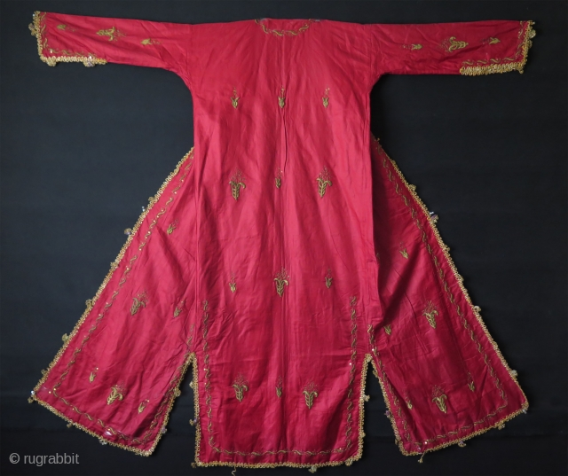 "Ottoman Silk and metallic embroidered Uc Etek. Some damages on skirt, arms and neck area. Size: Height 57""- 145 cm x Arms spread out 61.8""- 157 cm."