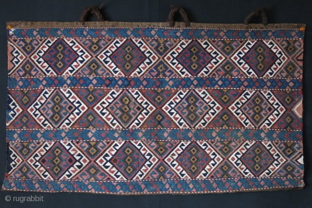 Shahsavan Sumak wool and cotton bedding bag side panel. Plain sumak weave. two tiny area repair, blue / green next to each other. soft peach color has fading. Circa 1900 -1920s   ...