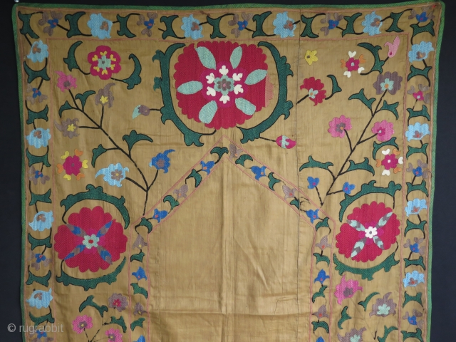 """Antique Uzbek silk embroidered suzani. Small patch on the bottom. Size: 36"""" x 51"""" - 92 cm x 130 cm."""