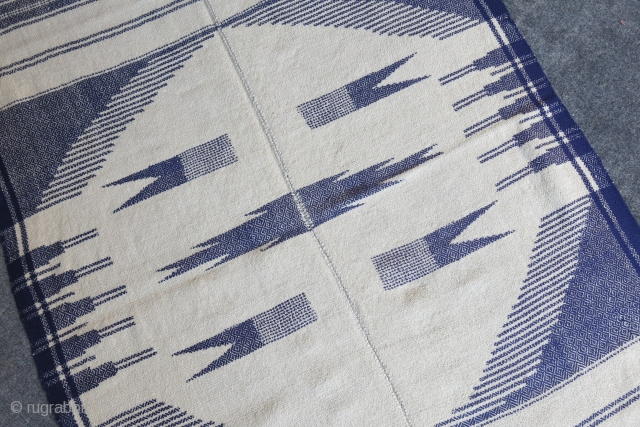 "Iran - Bidjar area Kurdish small kilim. natural ivory and indigo blue all wool combination with geometric motifs. Circa 1920-1930 size : 57"" X 35"" -- 145 cm X 88 cm"