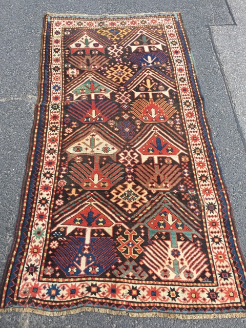 Colorful antique Caucasian rug with funky design, 19th century, size: 207x113cm / 6'8''ft x 3'7''ft , a few little condition problems, still very nice and collectable.