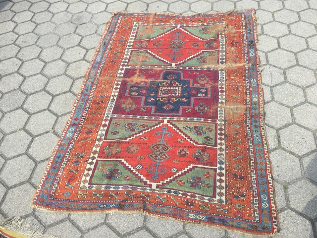 Antique East-Anatolian Kurdish rug with archaic design and beautiful colors, age: early 19th century. Size: 192x137cm / 6'3''ft x 4'5''ft Due to its high age this rug has some damage but it  ...