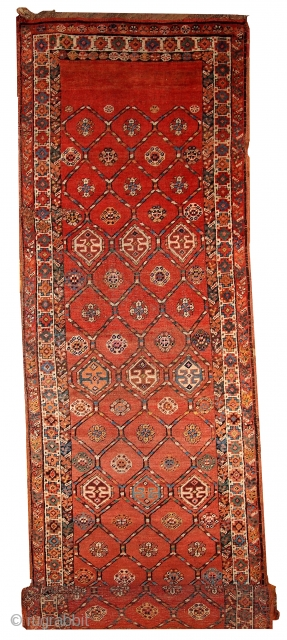 Handmade antique Persian Kurdish runner 3.2' x 12.2' ( 97cm x 371cm ) 1900 - 1B444