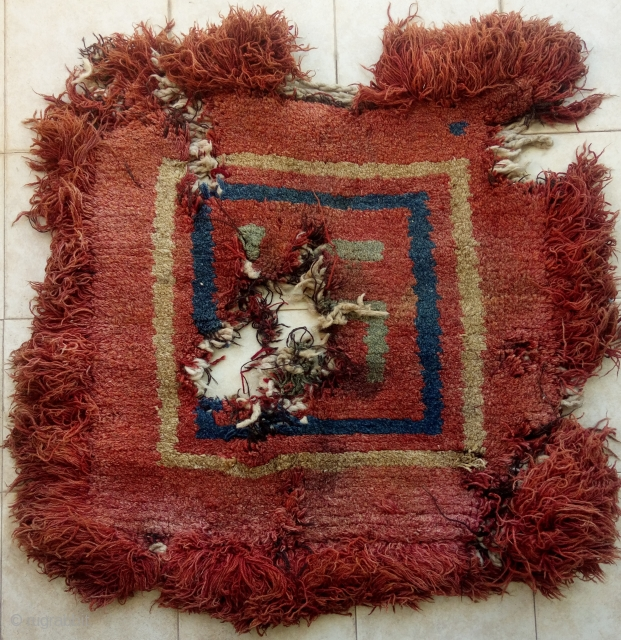 very early warp faced back lama seat with rare design and colors.. top tibetan collector piece..