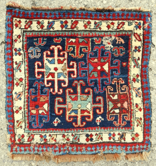 Bold Shahsavan or Caucasian pile bagface. C. 1870-80. All good color.