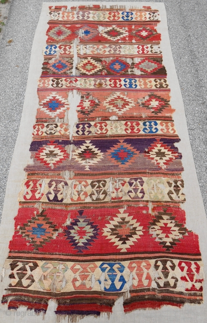 "Early Central Anatolian banded ""one-piece"" kilim. Nearly complete. Conserved and mounted on linen. 18th c. or older. Sublime color."