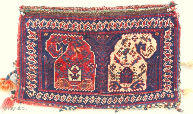 "Small Afshar ""boteh"" complete bag. C. 1870-80."