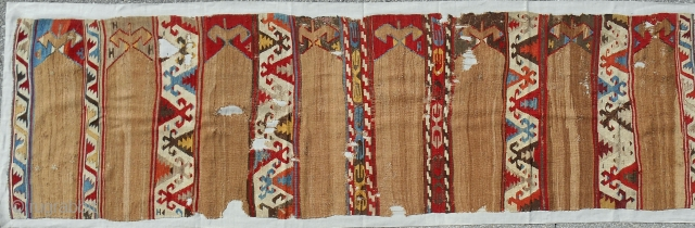 Camel wool Aydinli saf kilim banded fragment. Early 19th c. Conserved and mounted on linen.