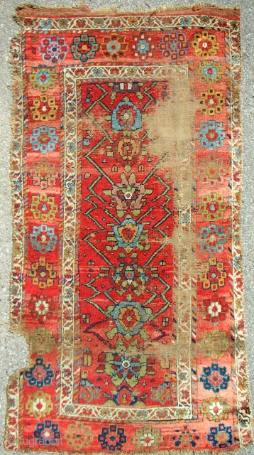 Very colorful Kurdish rug with silky wool. Circa 1850 or older.