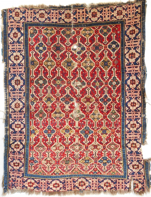 Dated 1830's Caucasian Kuba rug. Damaged but best of type!