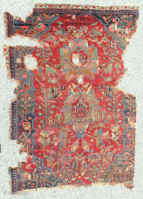 Super rare Persian Bijar rug. Dated 1820.
