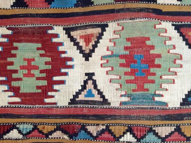 Caucasian kilim mafrash panel. Circa 1850-70. Sublime color.