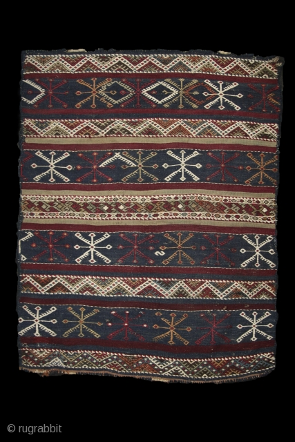 Lying under the deep blue sky on a starry night.... Malatya cicim, 19th century, wool on wool, almost original, perfect condition. more pieces: http://rugrabbit.com/profile/5160