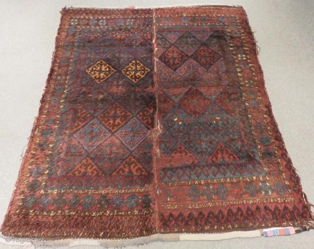 Antique Baluch Yatak orjinal two part Rug Size.190x155cm