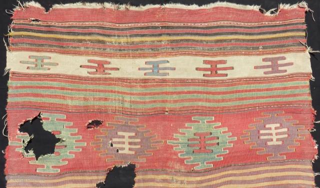 Early 18th Century West Anatolian Dazkırı Fragment Kilim Size.160x140 Cm