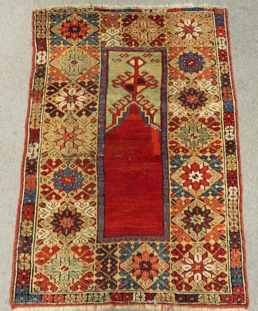 Early 19th Century Central Anatolian Konya Prayer Rug Size.154x108 Cm