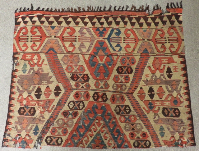 Early 18th Century South Anatolian Mut Fragment Kilim Size.142x110 Cm