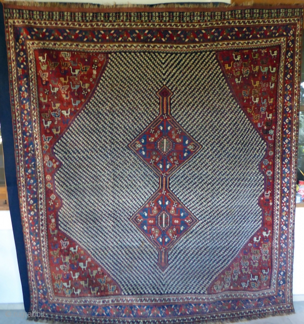 1530 Khamseh carpet of unusual size in good condition with all natural dyes. 6'11 x 6'1 - 205 z 185