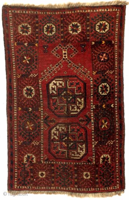 Ersari Beshir, 112 x 72 Cm. Antique.  White wool warp.