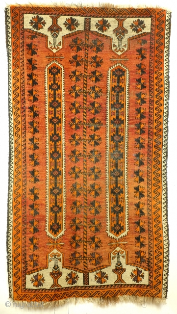 Belouch, wedding rug, antique rug - early light colors.  Nice abrash. 205 x 110 Cm.  Bride and groom flanking a tree of life.   ON HOLD, prob. hidding for Uzbekistan.