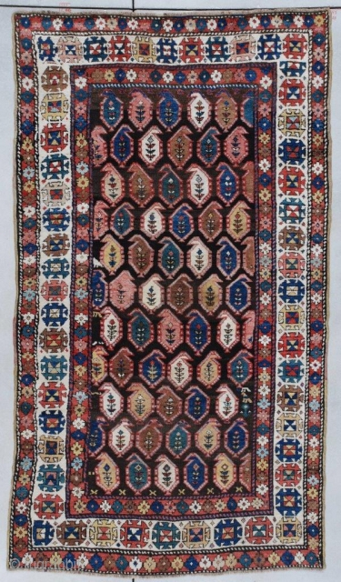 #7320 Kazak Antique Caucasian Rug 4'4″ x 7'6″