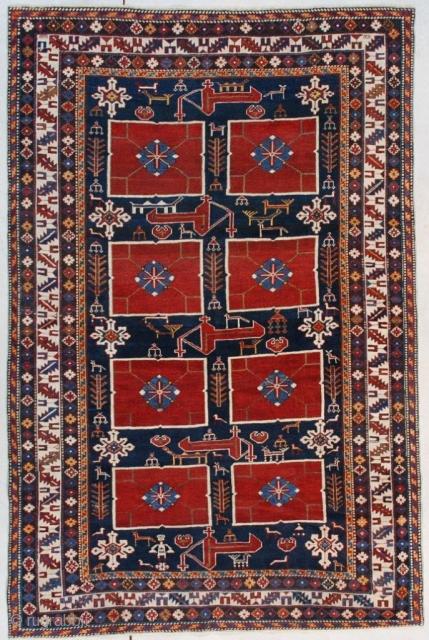 "#7528 Karagashli Antique Caucasian Rug This third or fourth quarter 19th century Karagashli rug measures 4'2"" X 6'3"" (128 x 192 cm). Although the rug is only 4' x 6',  it could  ..."