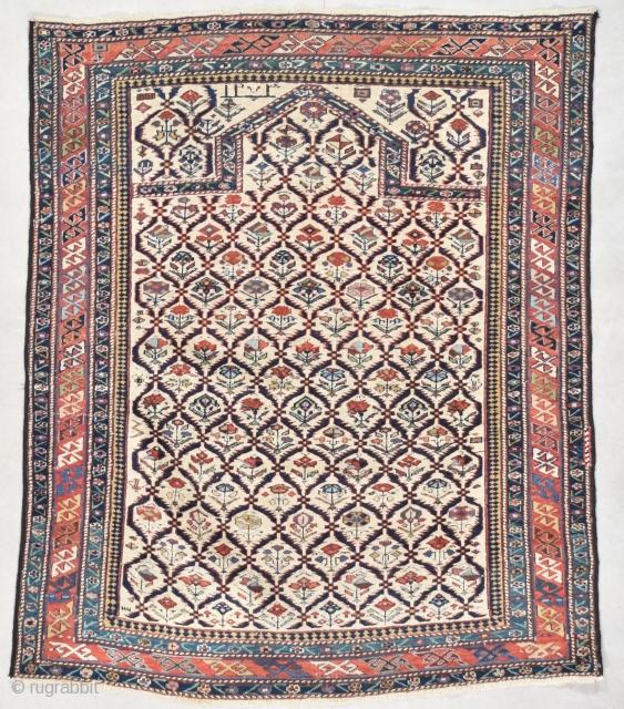 "#7559 Marasali Shirvan Antique Caucasian Rug This dated 1856 (1273 AH) Marasali Shirvan antique Oriental Rug measures 3'7"" X 4'4"" (112 x 134 cm). It has a lattice design on an ivory ground.  ..."