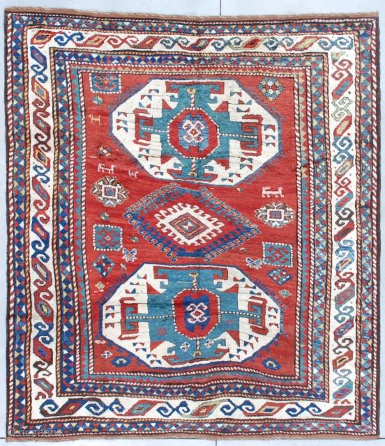 """#7626 Lori Pambak Kazak  This circa 1880 Lori Pambak Kazak measures 6'5"""" X 7'2"""" (198 x 219 cm). It is a full pile beauty with the typical Lori Pambak medallion layout. It has  ..."""