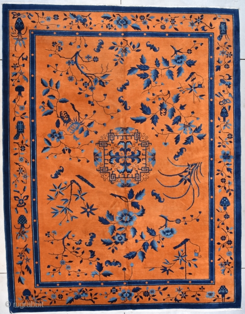 """#7729 Art Deco Chinese Oriental Rug A PAIR OF ROOMSIZE RUGS!!  This circa 1925 Art Deco Chinese Oriental Rug measures 9'0"""" X 11'7"""" (274 x 356 cm). This rug is a fantastic color  ..."""