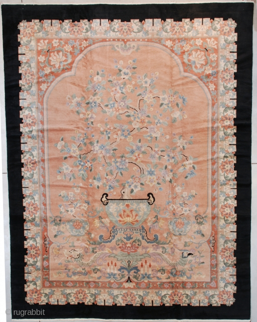 """#7579 Peking Chinese  This circa 1930 Peking Chinese Oriental Rug measures 9'2"""" X 11'9"""" (280 x 362 cm). This is a very interesting rug.  Describing it from the bottom up we see  ..."""
