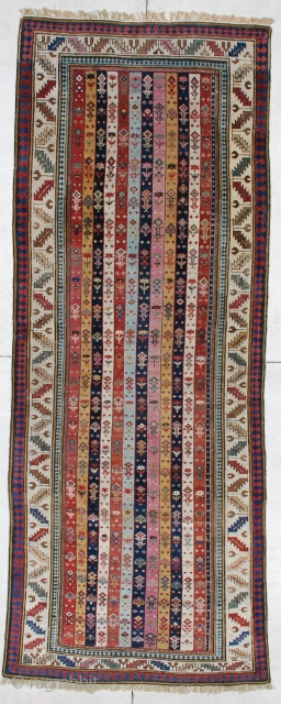 """#4177 Shirvan Runner  This antique Caucasian Shirvan runner measures 3'7"""" X 9'4"""". It has twelve stripes in eleven different colors. This is the finest woven Shirvan of its type I have ever seen.  ..."""
