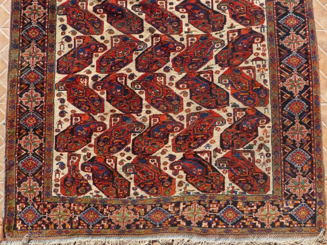 White Ground 'Mother and Child'  Boteh Afshar Rug, 185 x 135 cm. circa 1900