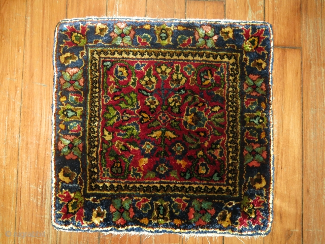 Antique Persian Silk rug size 1'x1'.  Excellent condition.  Hard to photograph.  100% silk and much nicer in person.