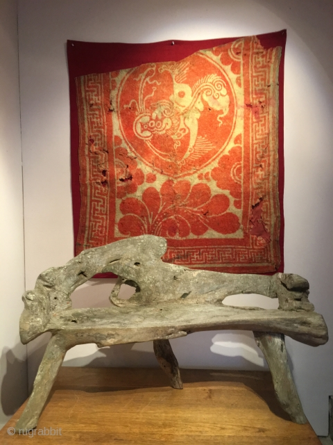 Beautiful early Silk Road felt fragment and yew bench.