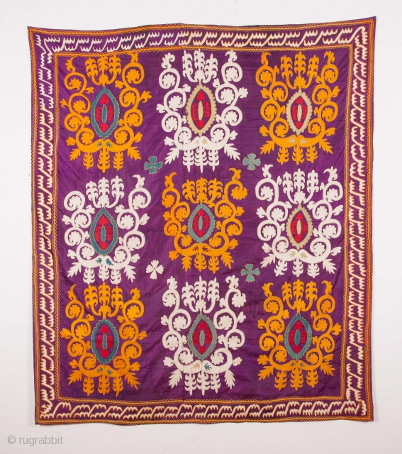 Central asian Uzbek Silk Suzani 145 x 168 cm / 4'9'' x 5'6''